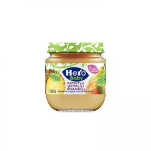 پوره میوه مخلوط آناناس ، گلابی و هلو هرو بیبی HERO BABY