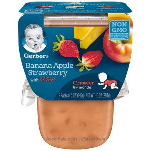 پوره میوه گربر با طعم میکس موز، سیب و توت فرنگی - Gerber