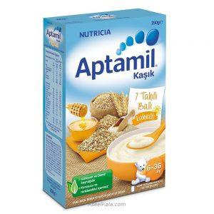 سرلاک بدون شیر آپتامیل APTAMIL با طعم 7 غله و عسل