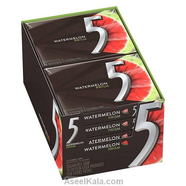 آدامس 5 فایو FIVE با طعم هندوانه بوکس 10 بسته 15 عددی