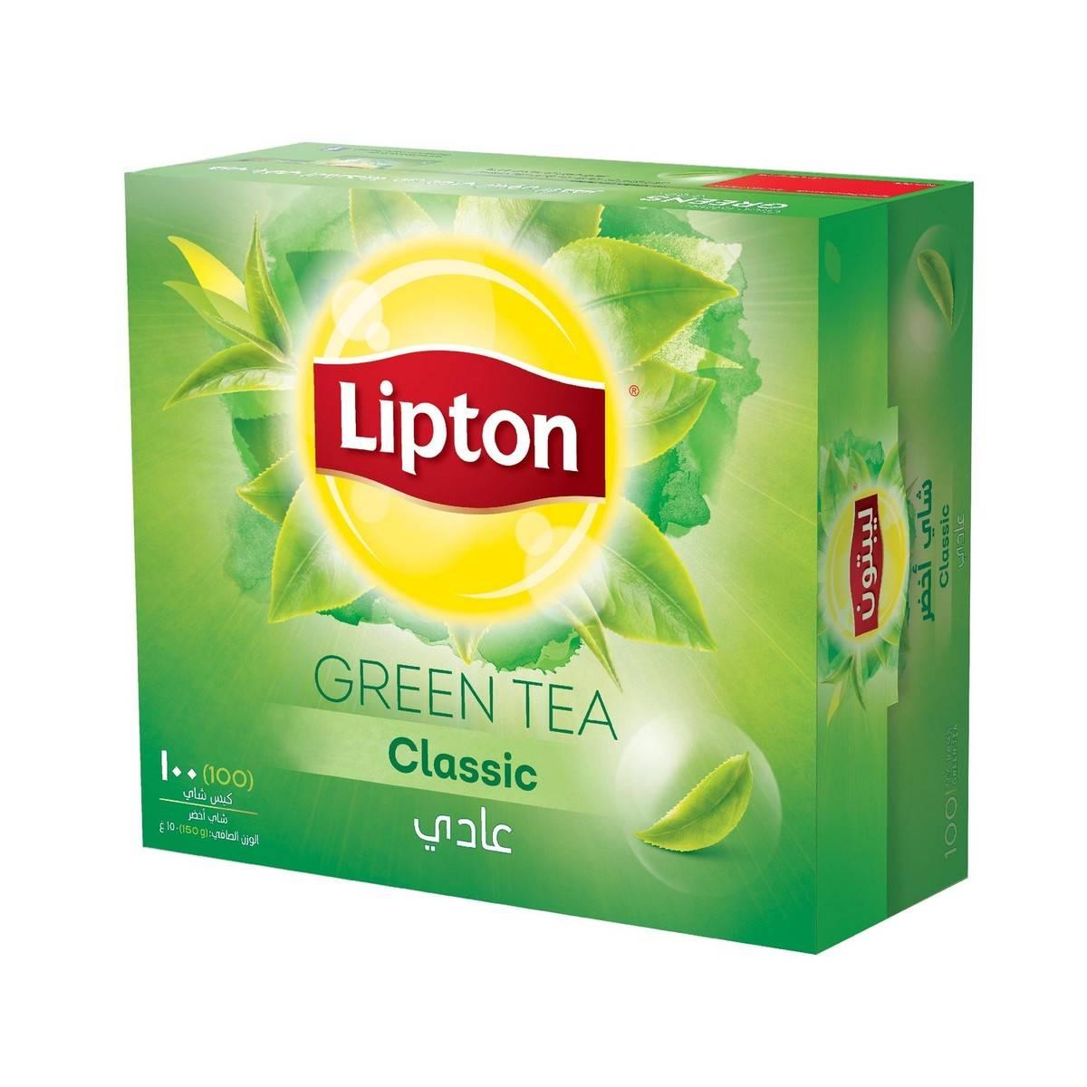 چای سبز کیسه ای لیپتون LIPTON با طعم کلاسیک ساده ۱۰۰ عددی