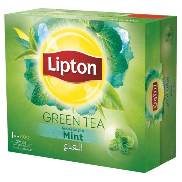چای سبز کیسه ای لیپتون LIPTON با طعم نعناع ۱۰۰ عددی