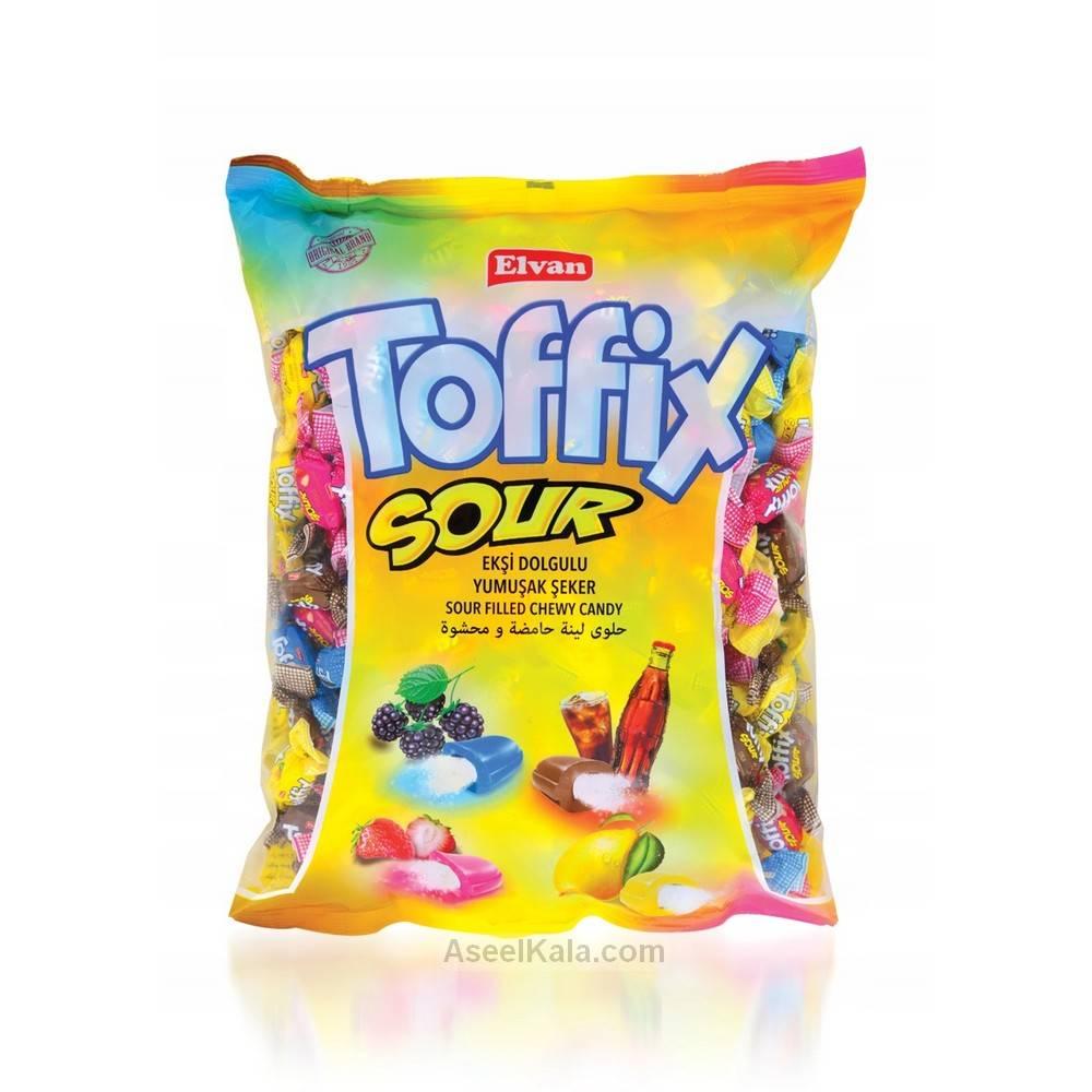 شکلات ترش تافیکس Toffix با طعم های مختلف وزن 350 گرم