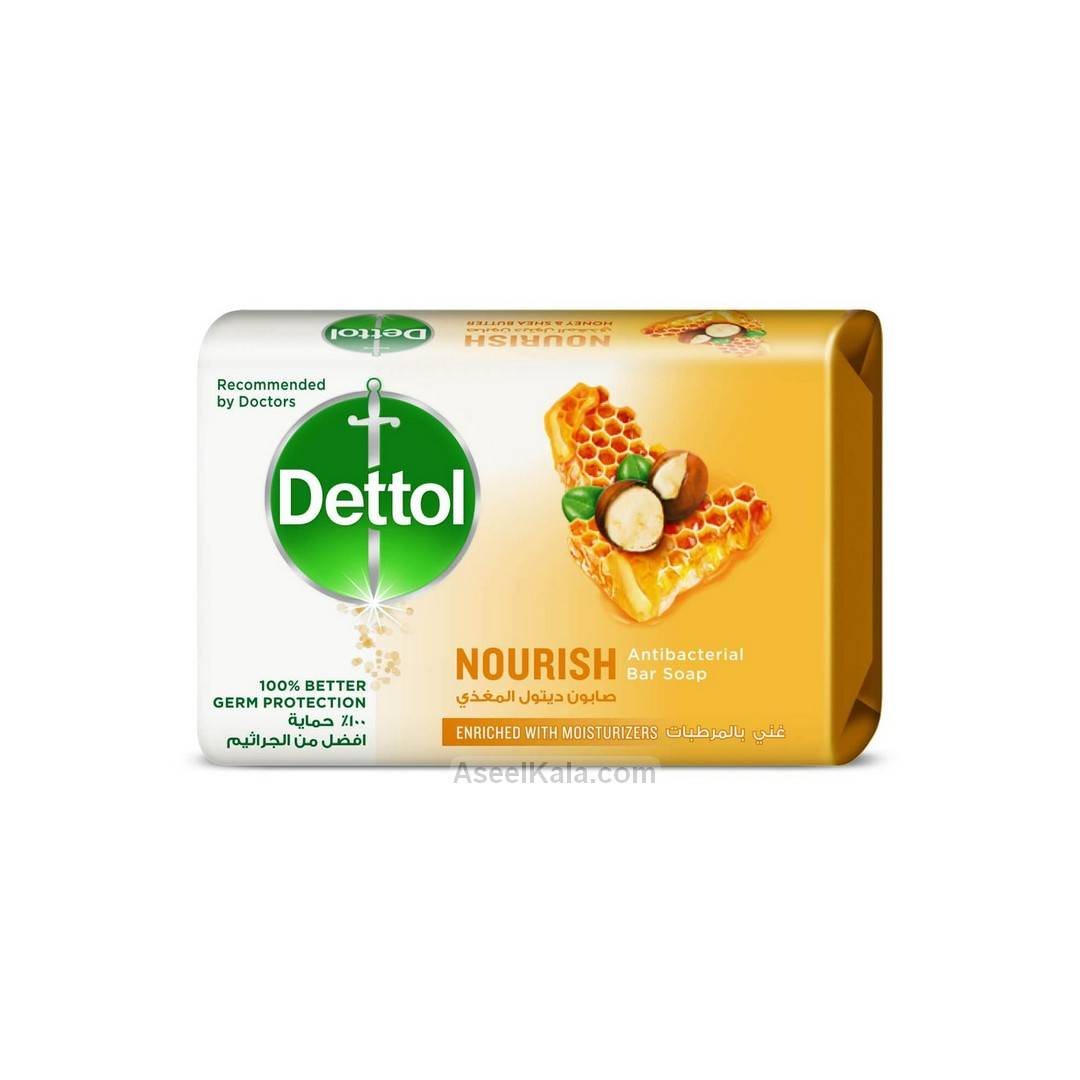صابون دتول Dettol مدل Nourish Antibacterial وزن 165 گرم