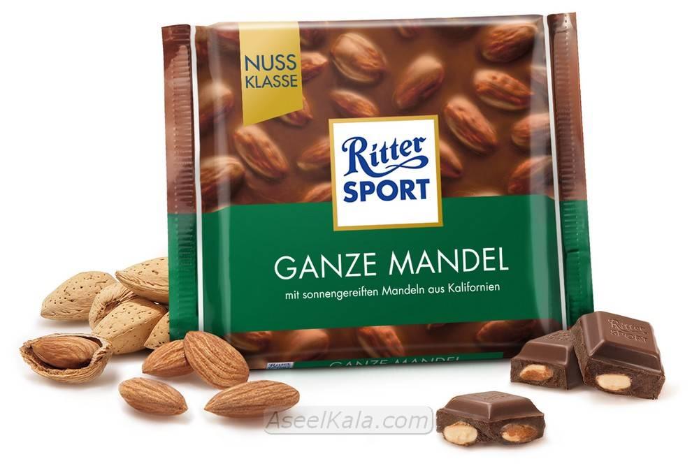شکلات ریتر اسپرت Ritter Sport با طعم Whole Almonds وزن 100 گرم