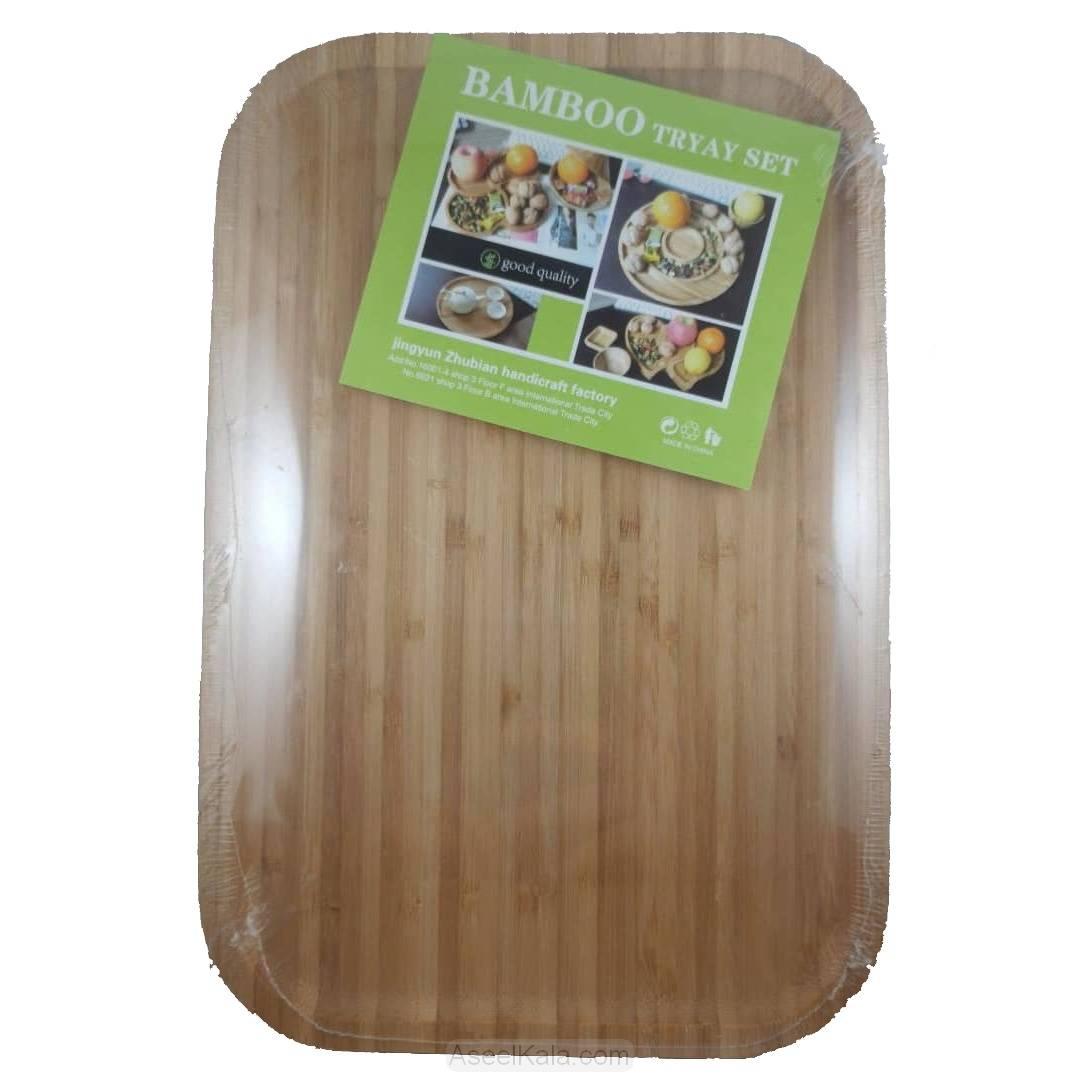 مشخصات ، قبمت و خرید سینی پذیرایی با چوب بامبو سایز 20*30